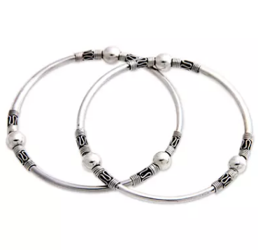 NOVICA Set of 2 Handmade .925 Sterling Silver 'Kintamani Moon' Elegant Bangle Bracelets
