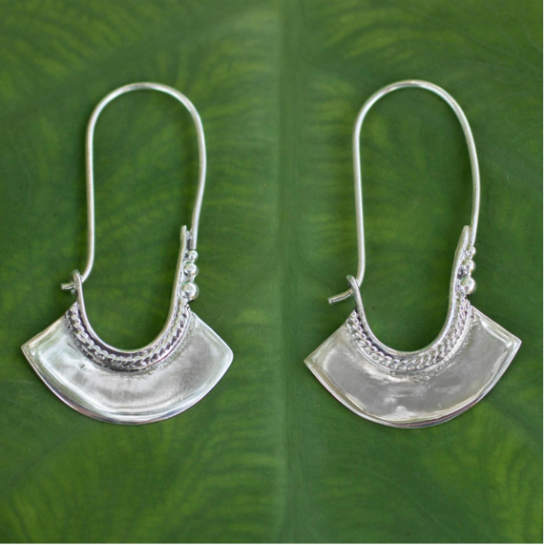 NOVICA Women Fashion Jewelry Handmade 925 Sterling Silver 'Hollow Bell' Delicate Hoop Style Earrings