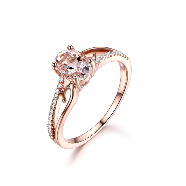 ID:R111 Women 18K Rose Gold GF Antique Jewelry Engagement Wedding Ring Solitaire With Accent