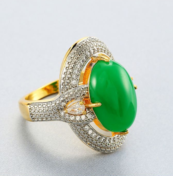 ID:R079 Women 18K Yellow Gold GP Antique Jewelry Engagement Wedding Promise Statement Anniversary Jade Cocktail Ring