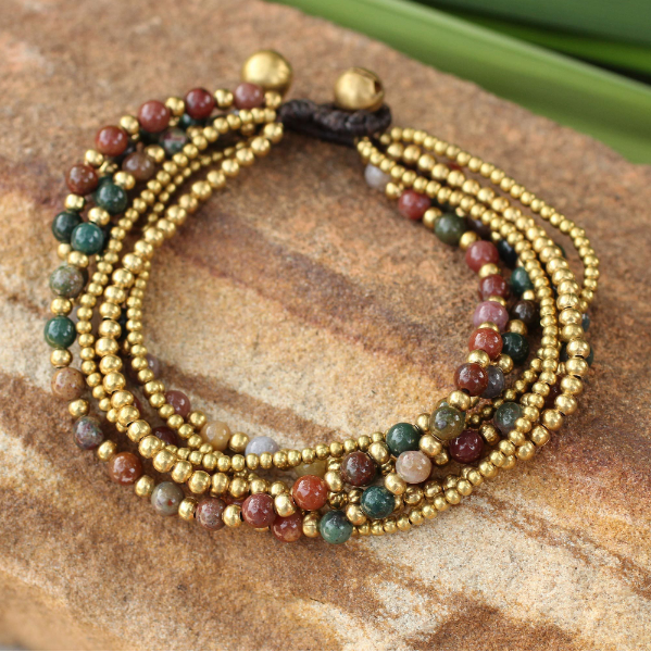 NOVICA Women Fashion Jewelry Hand Crafted Brass 'Joy' Multicolor Jasper Beaded Adjustable Bracelet