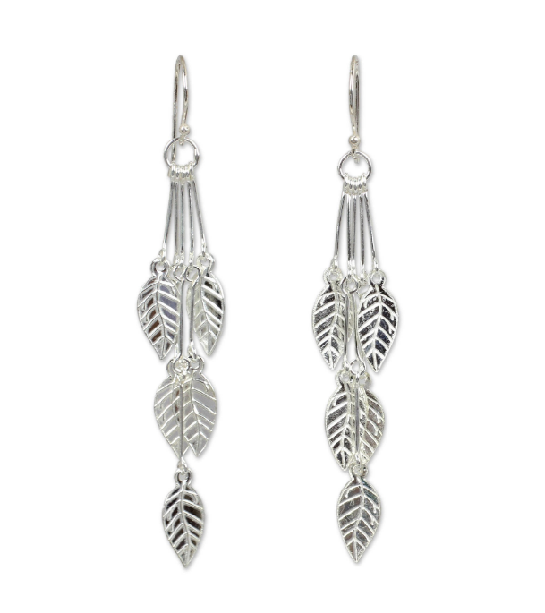 NOVICA Fashion HandCrafted  Sterling Silver 'Leaf Chimes' Dangle Leaf Cascade Style Dangle Earrings