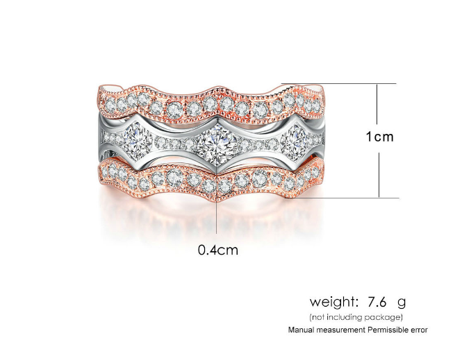 ID:R084 Women Jewelry 18K White/Rose Gold GP Wedding Engagement Promise Statement Anniversary Bridal Band Ring Set