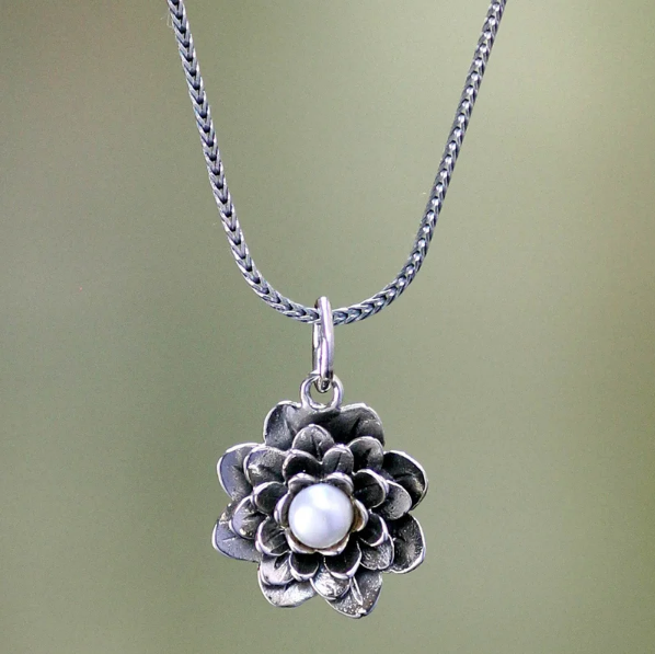 NOVICA Handmade Women Jewelry 925 Sterling Silver 'Sacred White Lotus' Pretty Flower Pearl Pendant Necklace