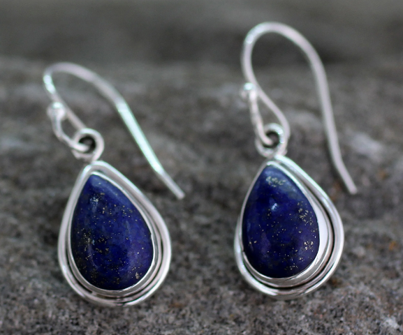 NOVICA Handmade .925 Sterling Silver 'Blue Teardrop' Lapis Lazuli Blue Stone Dangle Hook Earrings