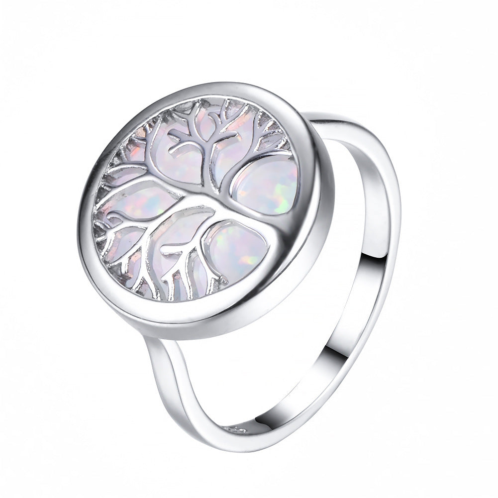 ID:R037 Women Jewelry 14K White Gold GF White Fire Opal Ring Life Tree Design Perfect Gift