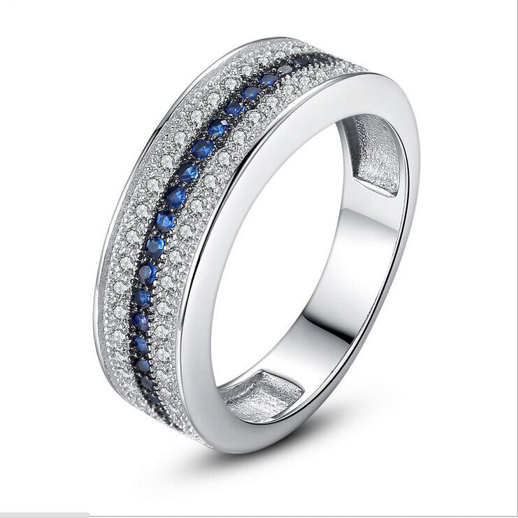 ID:R064 Women Jewelry 18K White Gold GP Wedding Engagement Promise Statement Anniversary Sapphire Band Ring