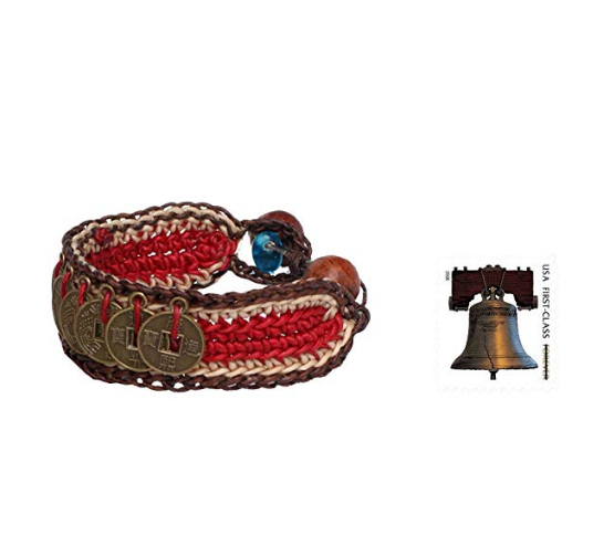 NOVICA Good Fortune Woven Wristband Bracelets with Coins and Wooden Beads 'Coins of Passion' (pair)