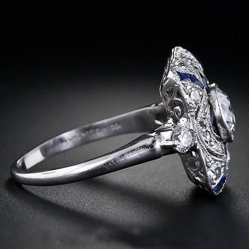ID:R121 Women Jewelry 18K White Gold GP Wedding Engagement Promise Statement Anniversary Sapphire Cocktail Ring