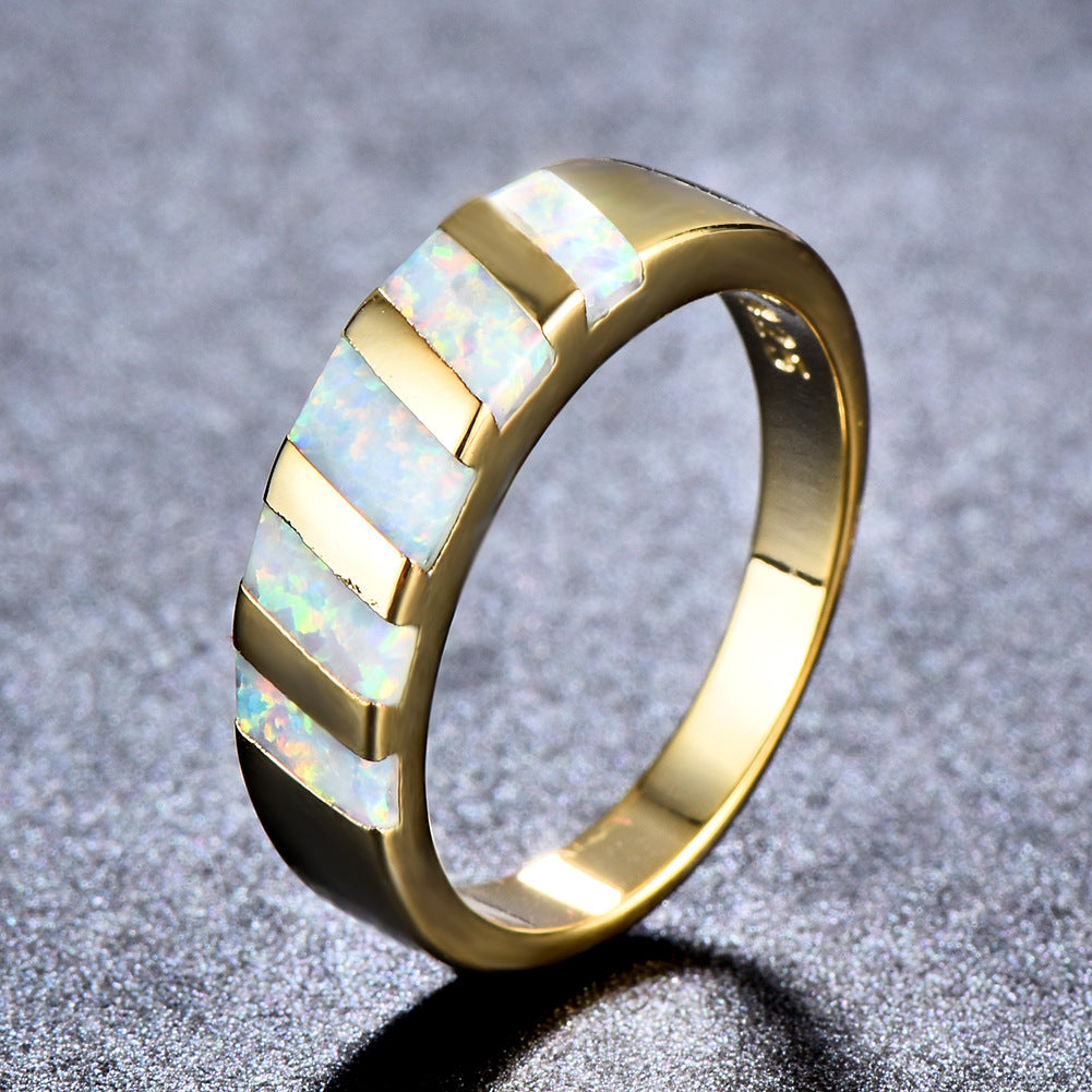 ID:R074 Women Jewelry 18K Yellow Gold GP Wedding Engagement Promise Statement Anniversary Opal Band Ring