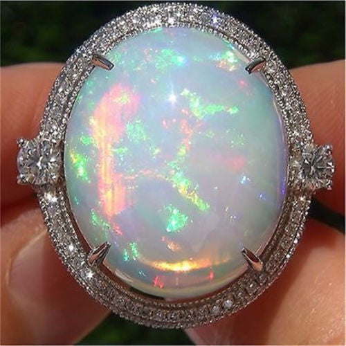ID:R077 Women 18K White Gold GF Antique Jewelry Engagement Wedding Promise Statement Anniversary Big Oval Opal Ring