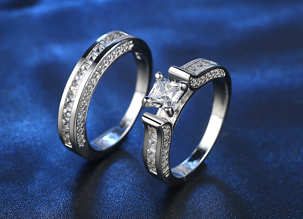 ID:R027 Women 18K White Gold GF Antique Promise Jewelry Engagement Wedding Band 2pcs Bridal Ring Sets
