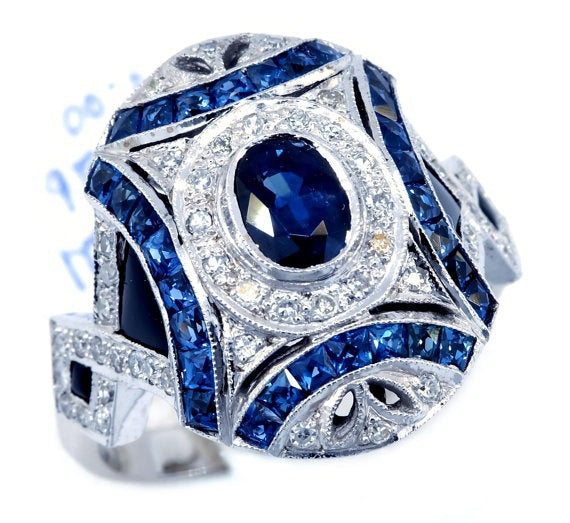 ID:R123 Women Jewelry 18K White Gold GP Wedding Engagement Promise Statement Anniversary Sapphire Ring