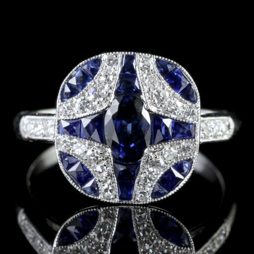 ID:R124 Women Jewelry 18K White Gold GP Wedding Engagement Promise Statement Anniversary Sapphire Ring