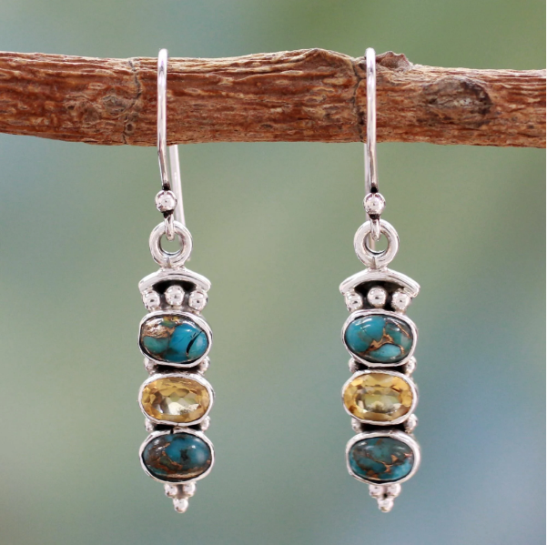 NOVICA Handmade Sterling Silver 'Golden Mystique' Citrine Reconstituted Turquoise Stone Hoop Earring