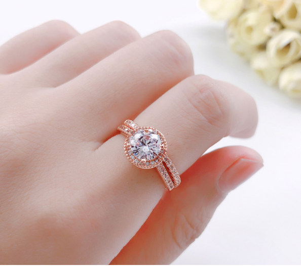 ID:R083 Women Jewelry 18K Rose Gold GP Wedding Engagement Promise Statement Anniversary Bridal Band Ring Set