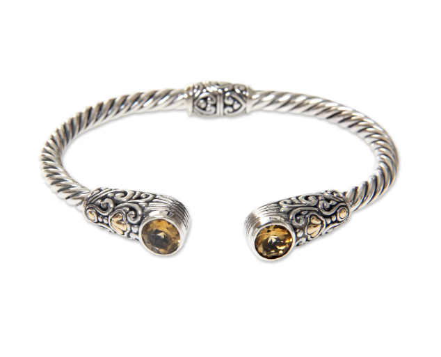 NOVICA Finely Detailed Handmade Gold Accent Sterling Silver Citrine Cuff Bracelet,'Sukawati Secret'