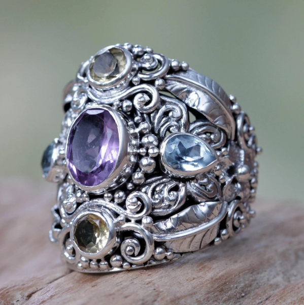 NOVICA Handmade 'Butterfly Queen' Unique Design Multi Gemstone Cluster Sterling Silver Cocktail Ring