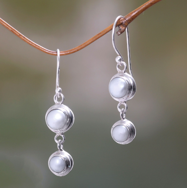 "NOVICA ""Two Full Moons"" of White Freshwater Pearls 925 Sterling Silver Chic Women Dangle Earrings"