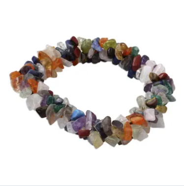 NOVICA Handmade Natural Multi-Gemstone 'Rainbow Gems' Fabulous Beaded Bracelet Women Jewelry