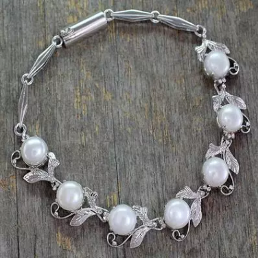 NOVICA Handmade 'Misty' Pearl Leaves Vines Bracelet Tennis Style .925 Sterling Silver Women Jewelry