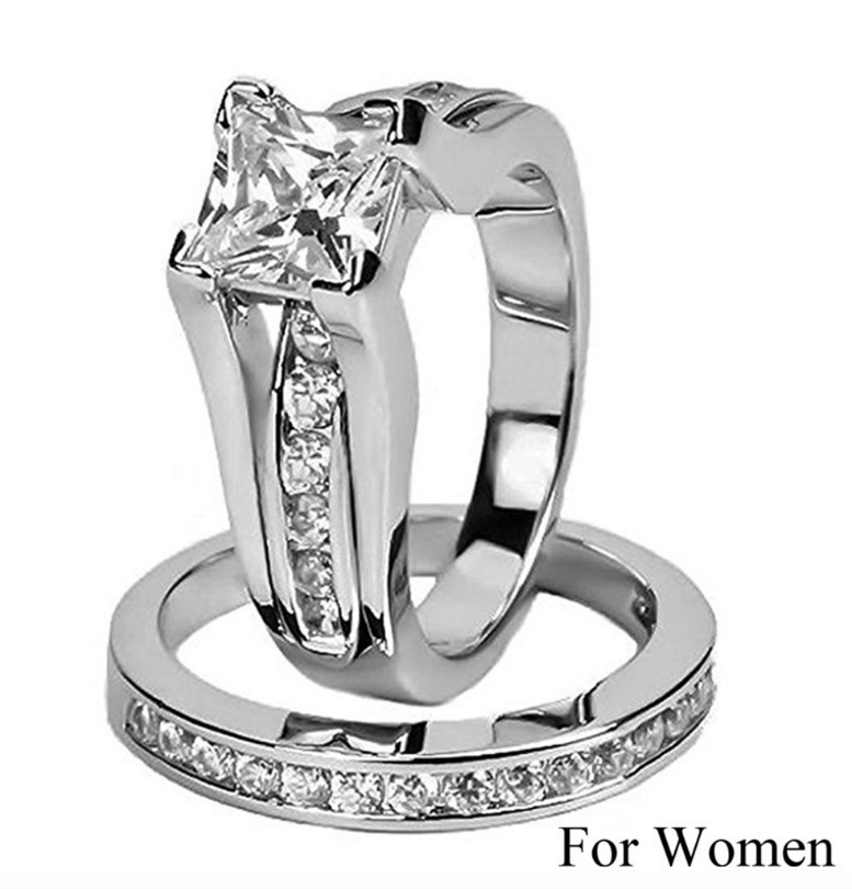 ID:R048 Women 18K White Gold GF Vintage Jewelry Bridal Engagement Wedding Promise Statement Anniversary Band Ring Set of 2 pieces