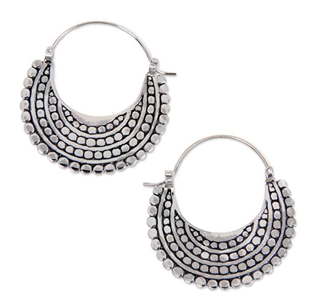 NOVICA Crafted .925 Sterling Silver Sea Catch Crescent-Shaped Hoop Style Earrings 'Moon Sliver'