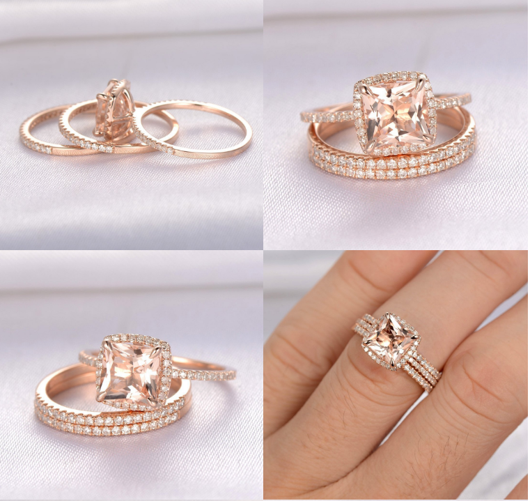 ID:R051 Women 18K Rose Gold GF Vintage Jewelry Bridal Engagement Wedding Promise Statement Anniversary Band Ring Set of 3 pieces