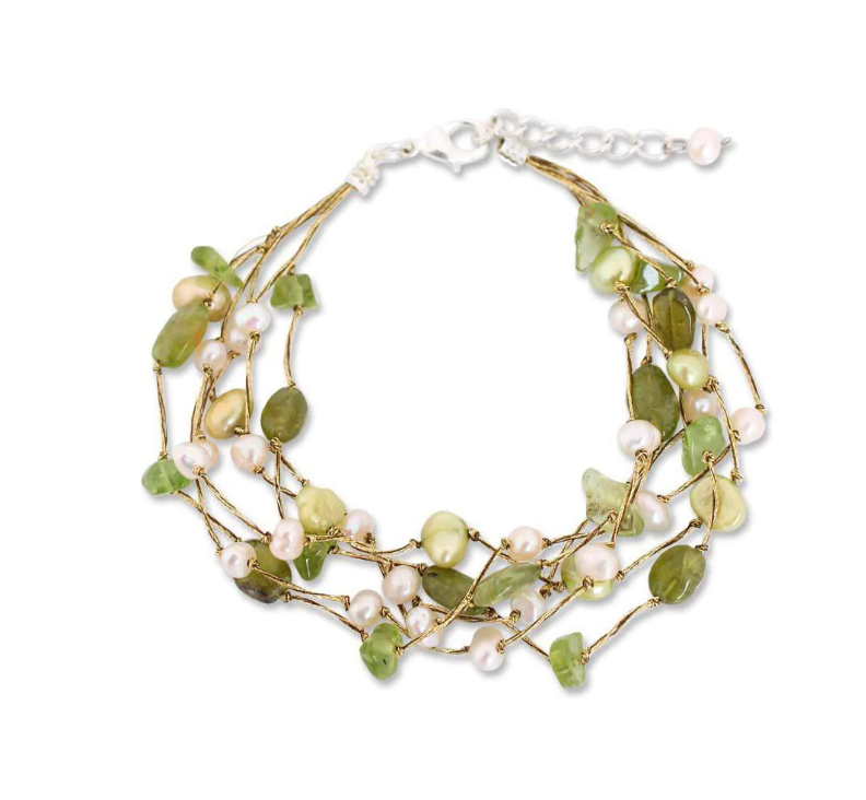 NOVICA Handmade Sterling Silver Multi-Gem Peridot and Pearl 'Cloud Forest' Beaded Style Bracelet