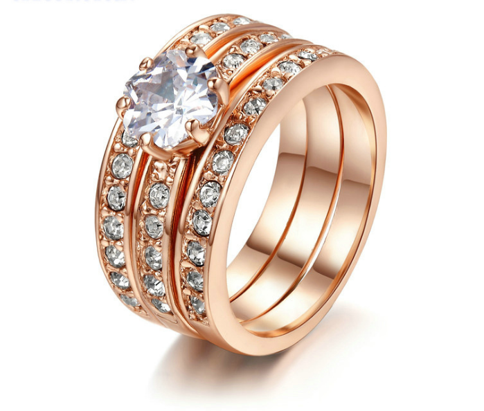 ID:R088 Women Jewelry 18K Rose Gold GP Wedding Engagement Promise Statement Anniversary Bridal Band Ring Set