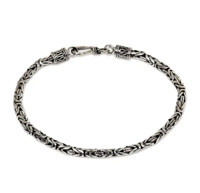 "NOVICA Handmade Buddhist Zen Inspired Naga Snake Sterling Silver 8.5"" Chain Bracelet ""Borobudur Collection II'"