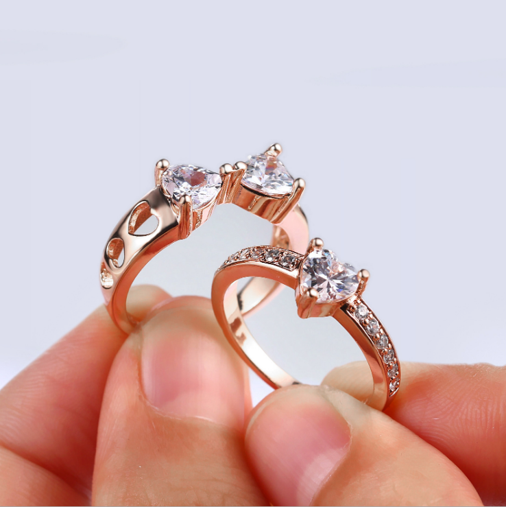 ID:R086 Women Fashion Jewelry 18K Rose Gold GP Engagement Wedding Statement Promise Bridal Band 3pcs Ring Set