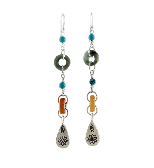 NOVICA Handmade Sterling Silver 'Hill Tribe Adventure' Multi-gemstone Beaded Dangle Jade Earrings