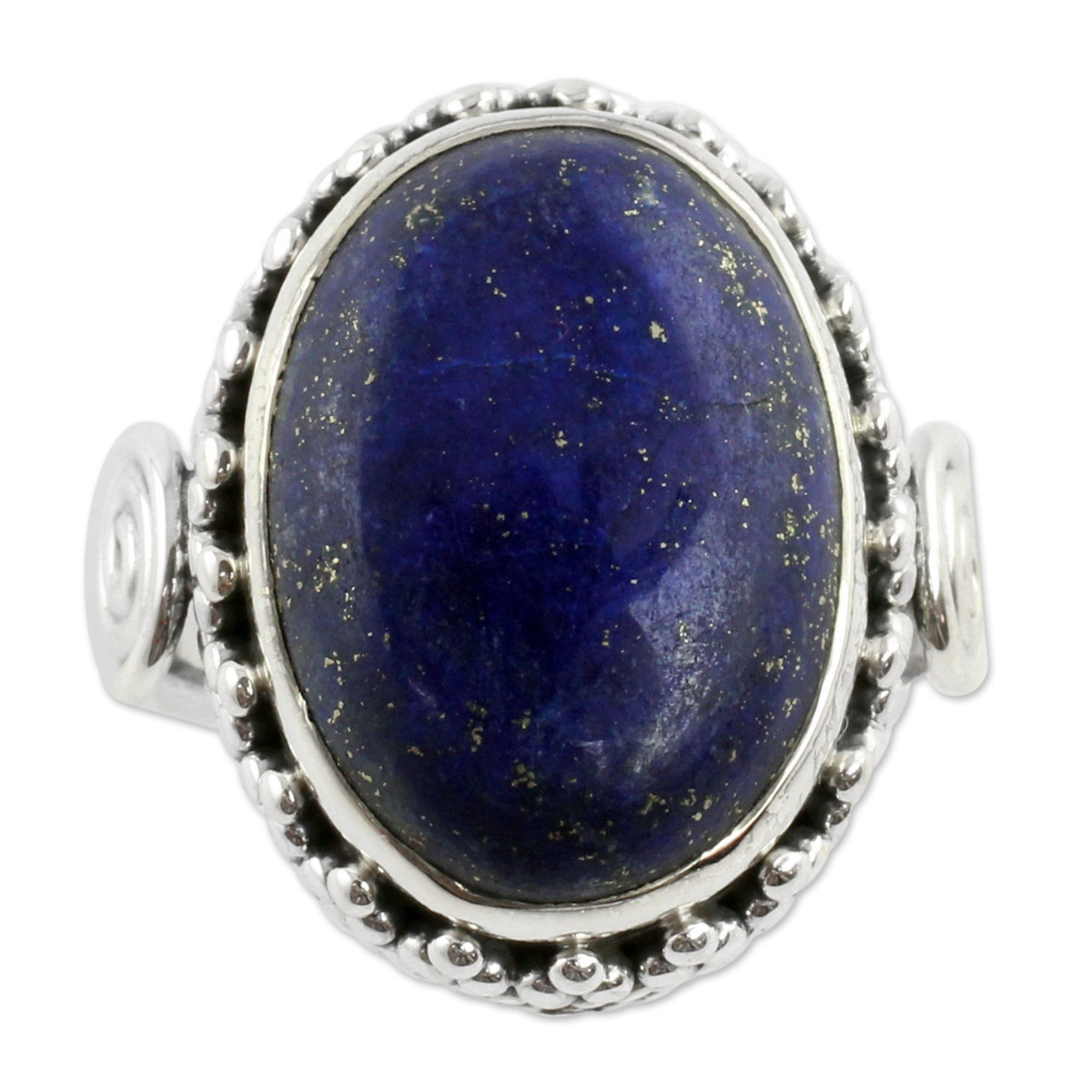 NOVICA Majestic Blue Lapis Lazuli Handmade .925 Sterling Silver Handcrafted Cocktail Cluster Style Ring, 'Majestic Blue'