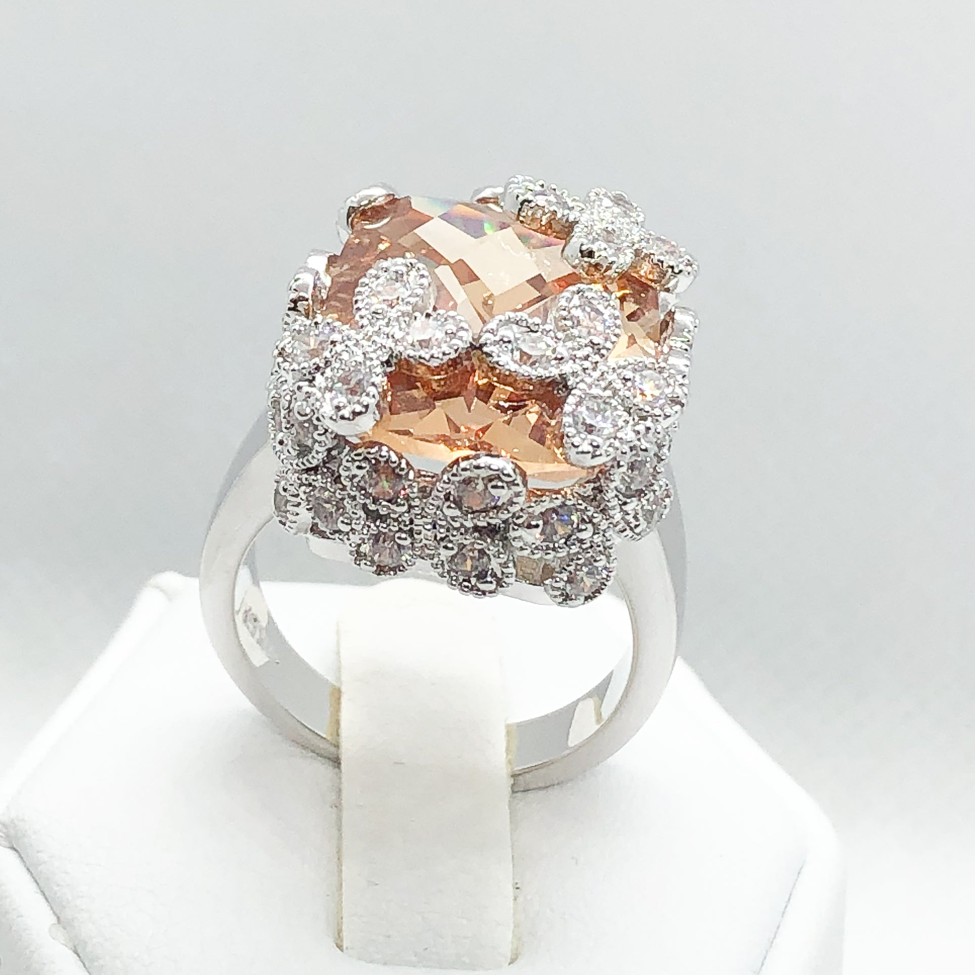 ID:R5381 Women Jewelry 18K White Gold GF Unique Flower Design Cocktail Ring Big Citrine Solitaire Big With Clear Accent