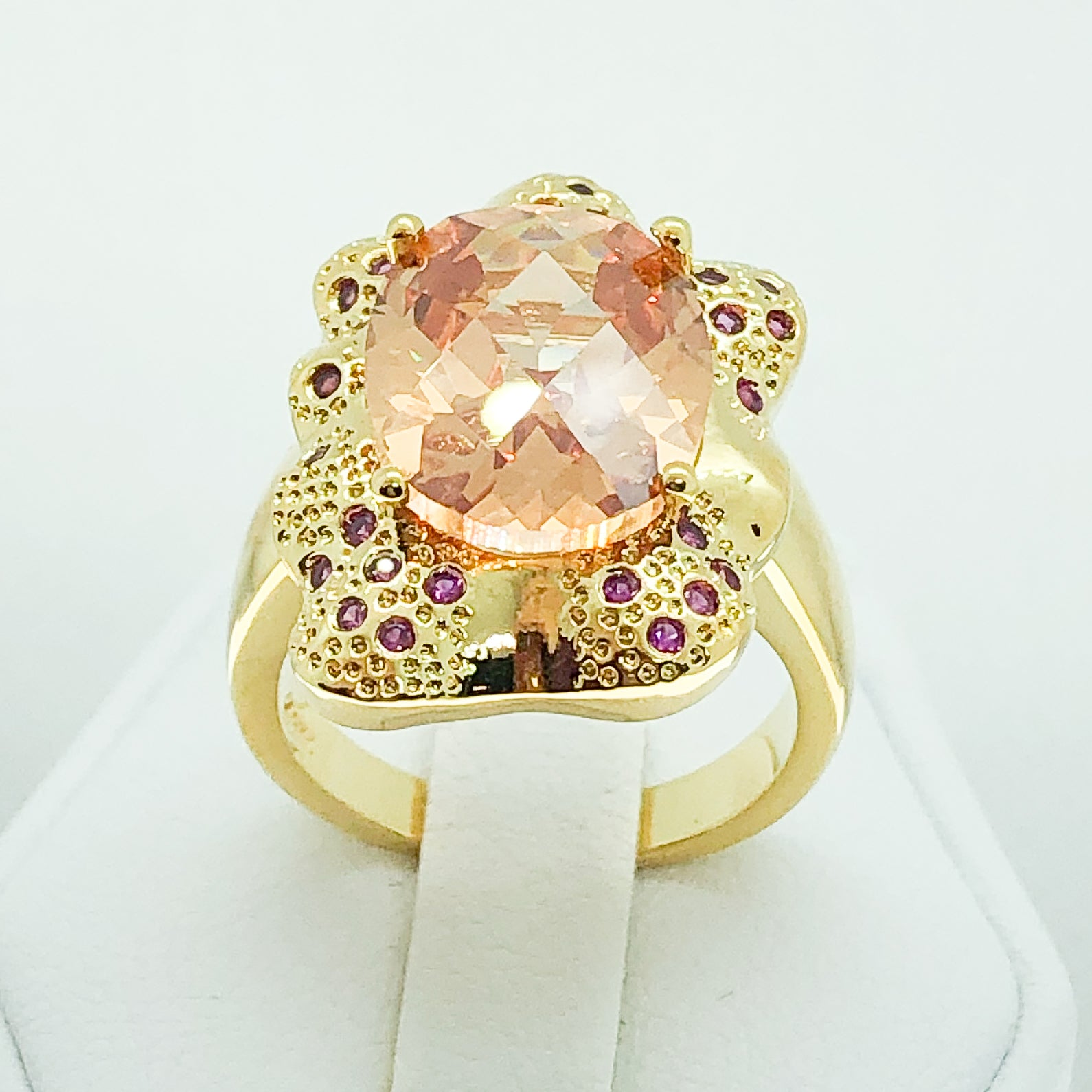 ID:R3866 Women Jewelry 18K Yellow Gold GF Big Orange Crystal With Accent Cocktail Ring