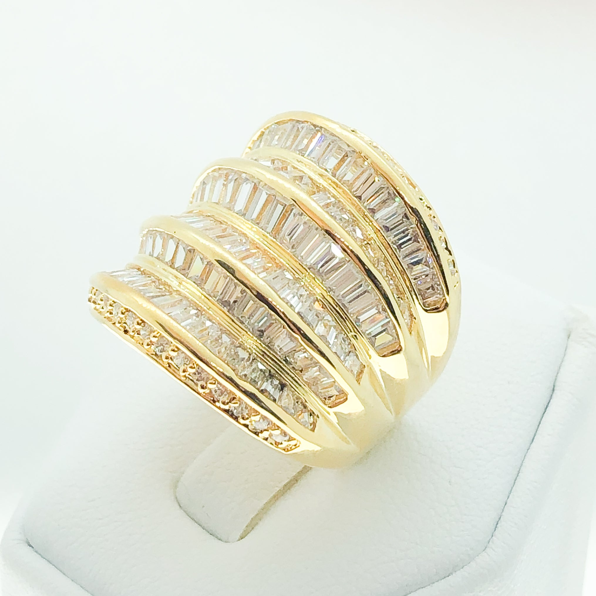 ID:R3498 Women Fashion Jewelry 18K Yellow Gold GF Charming Luxury Diamonique Promise Wedding Anniversary Eternity Band Ring