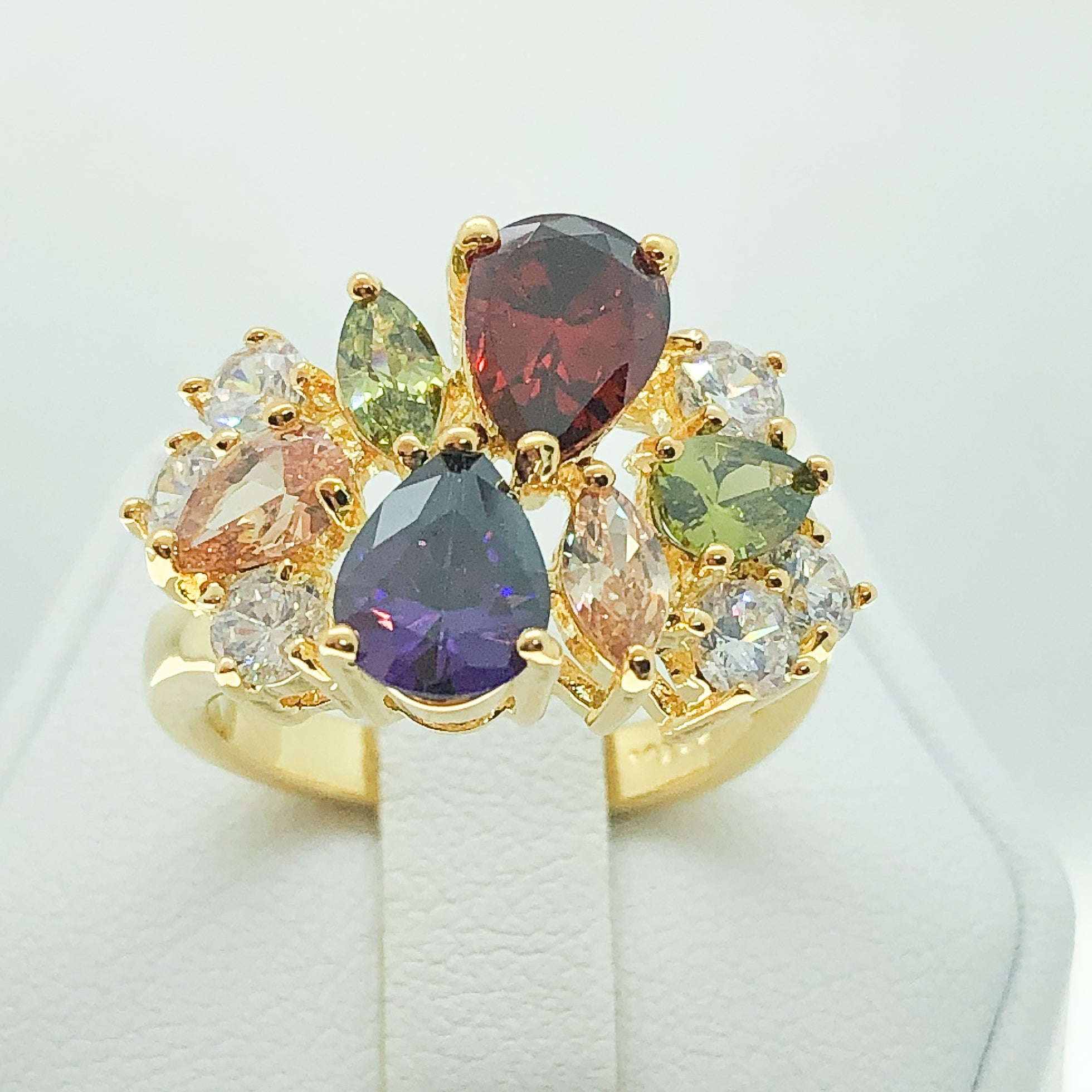 ID:R4584 Women 18K Yellow Gold GF Fashion Jewelry Stupendous Color Gemstone Cluster Cocktail Ring