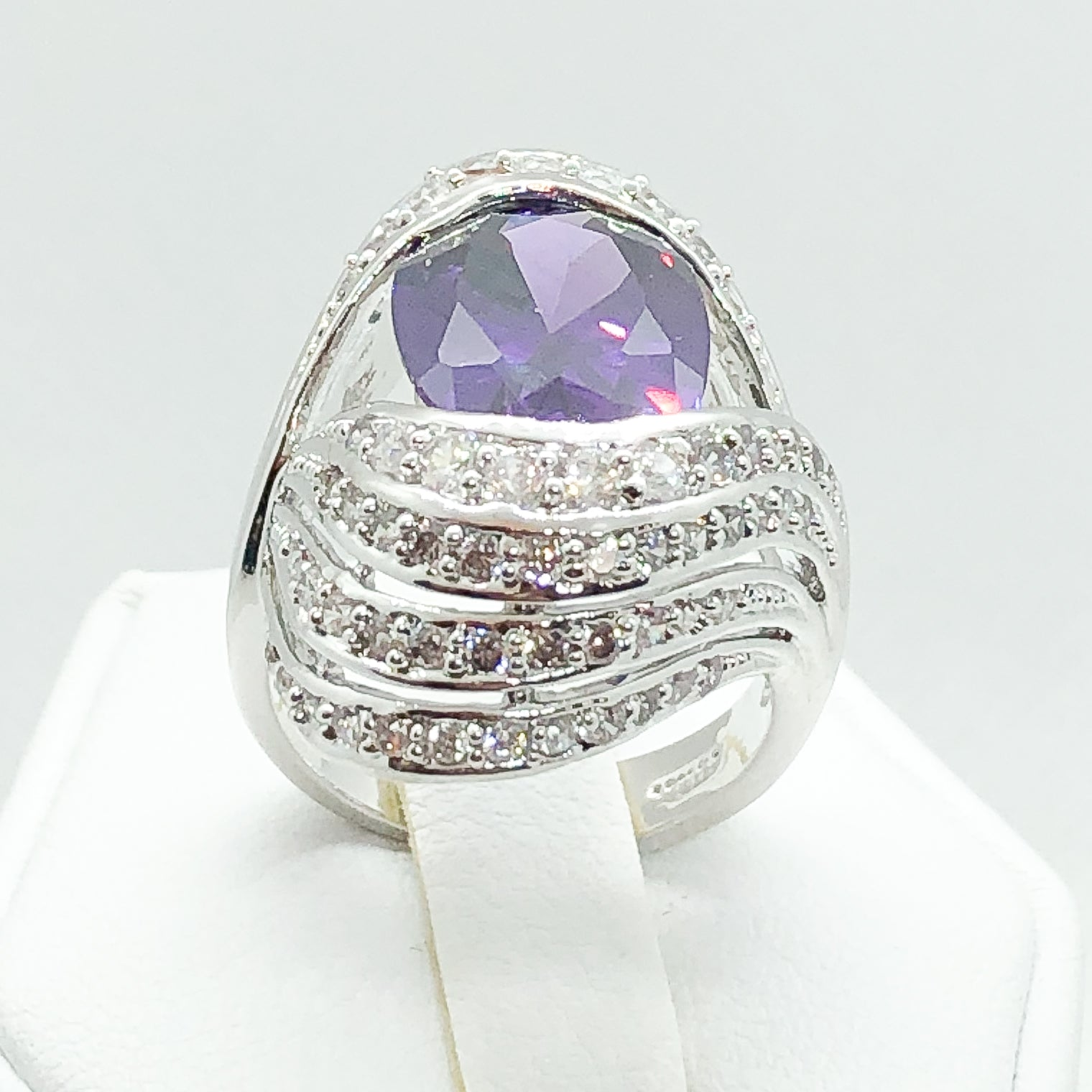 ID:R4535 Women Jewelry 18K White Gold GF Stunning Amethyst Center Stone with Clear Gemstone Accent Cocktail Ring Anniversary Gift