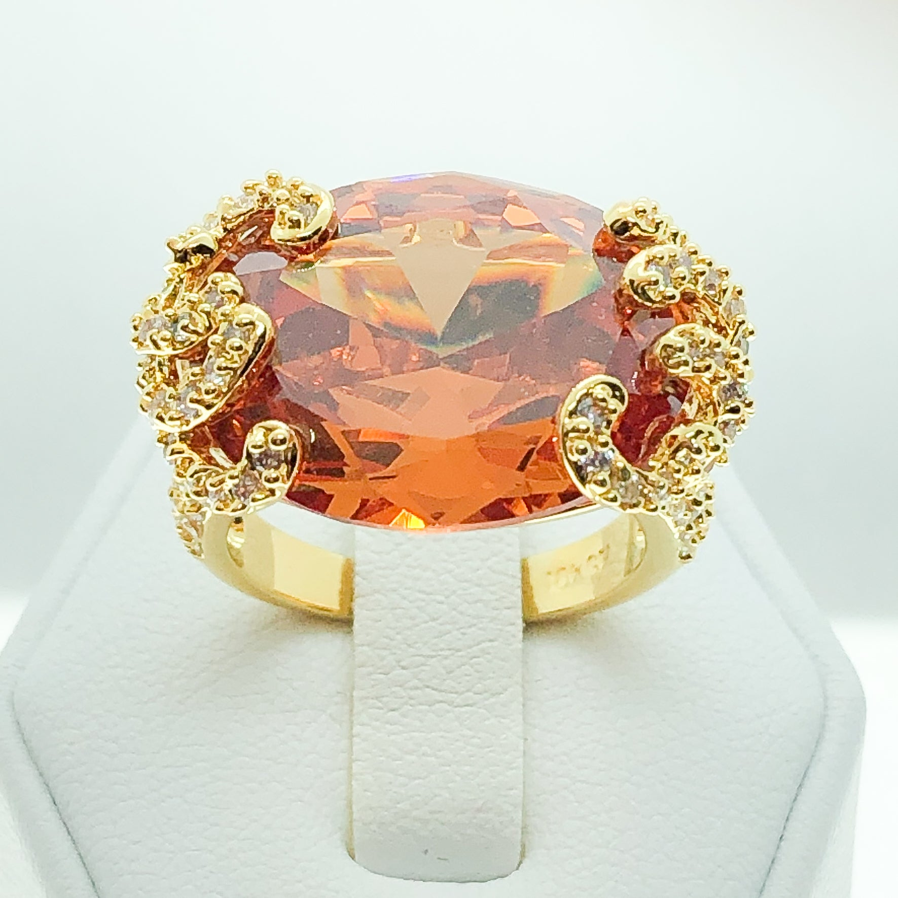 ID:R3849 Women Fashion Jewelry 18K Yellow Gold GF Big Orange Crystal With Clear Accent Cocktail Ring