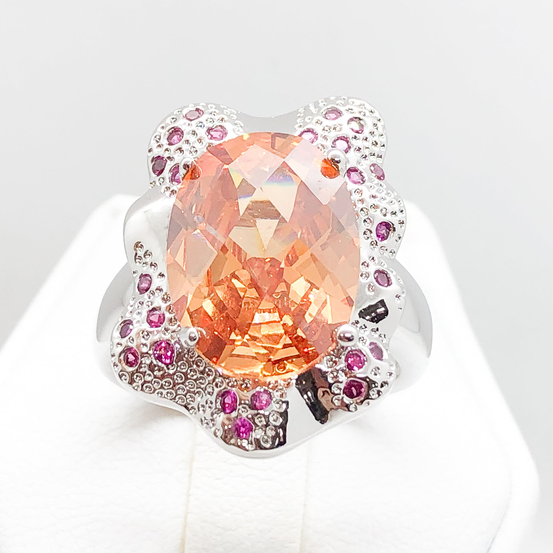 ID:R3866 Women Jewelry 18K White Gold GF Big Orange Crystal With Accent Cocktail Ring