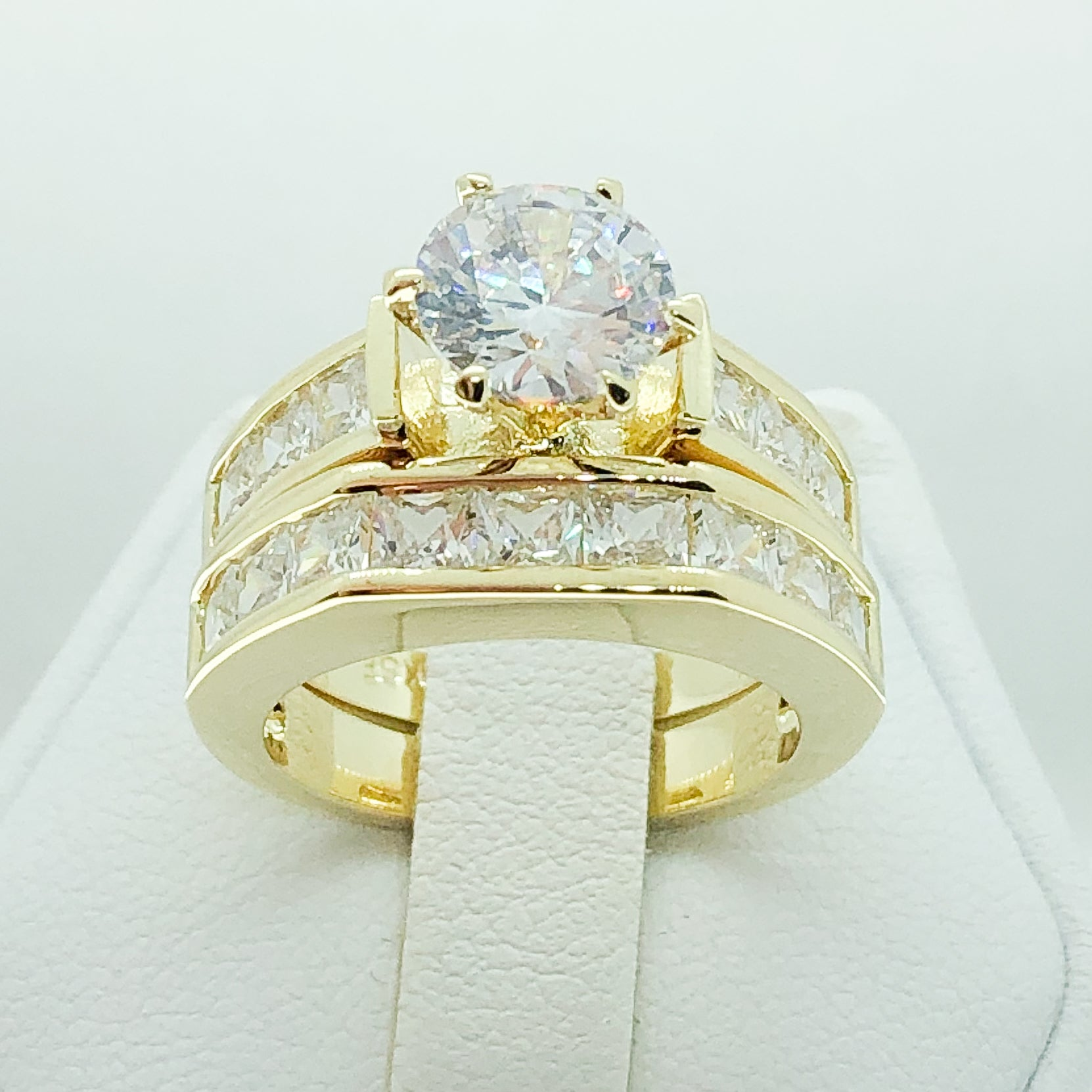 ID:R3600 Women Vintage Jewelry 18K Yellow Gold GF Impressive Engagement Wedding Diamonique Bridal 2pcs/Set Band Ring
