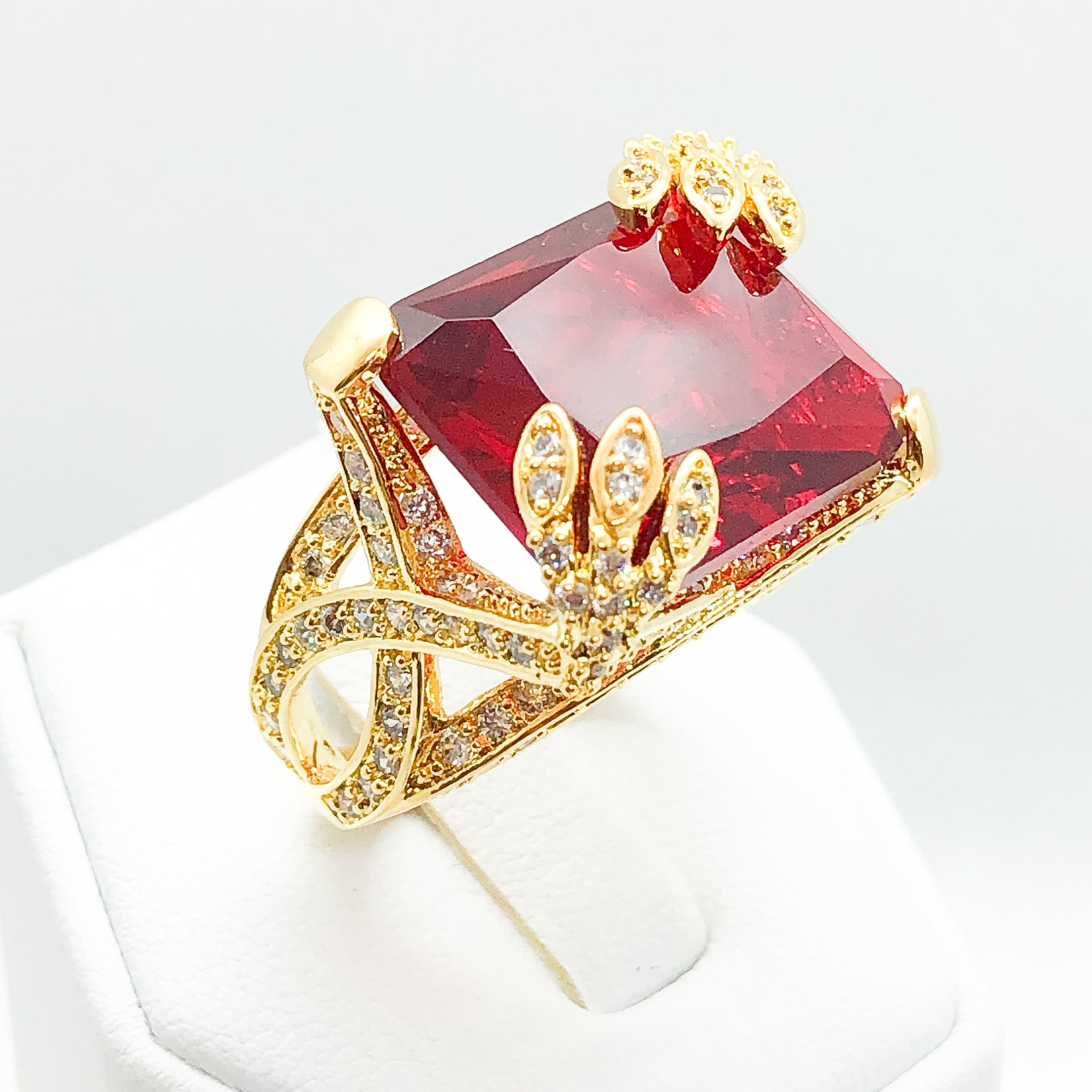 ID:R3844-3 Women Fashion Jewelry 18K Yellow Gold GF Big Center Ruby with Clear Diamonique Accent Alluring Cocktail Ring Perfect Anniversary Gift