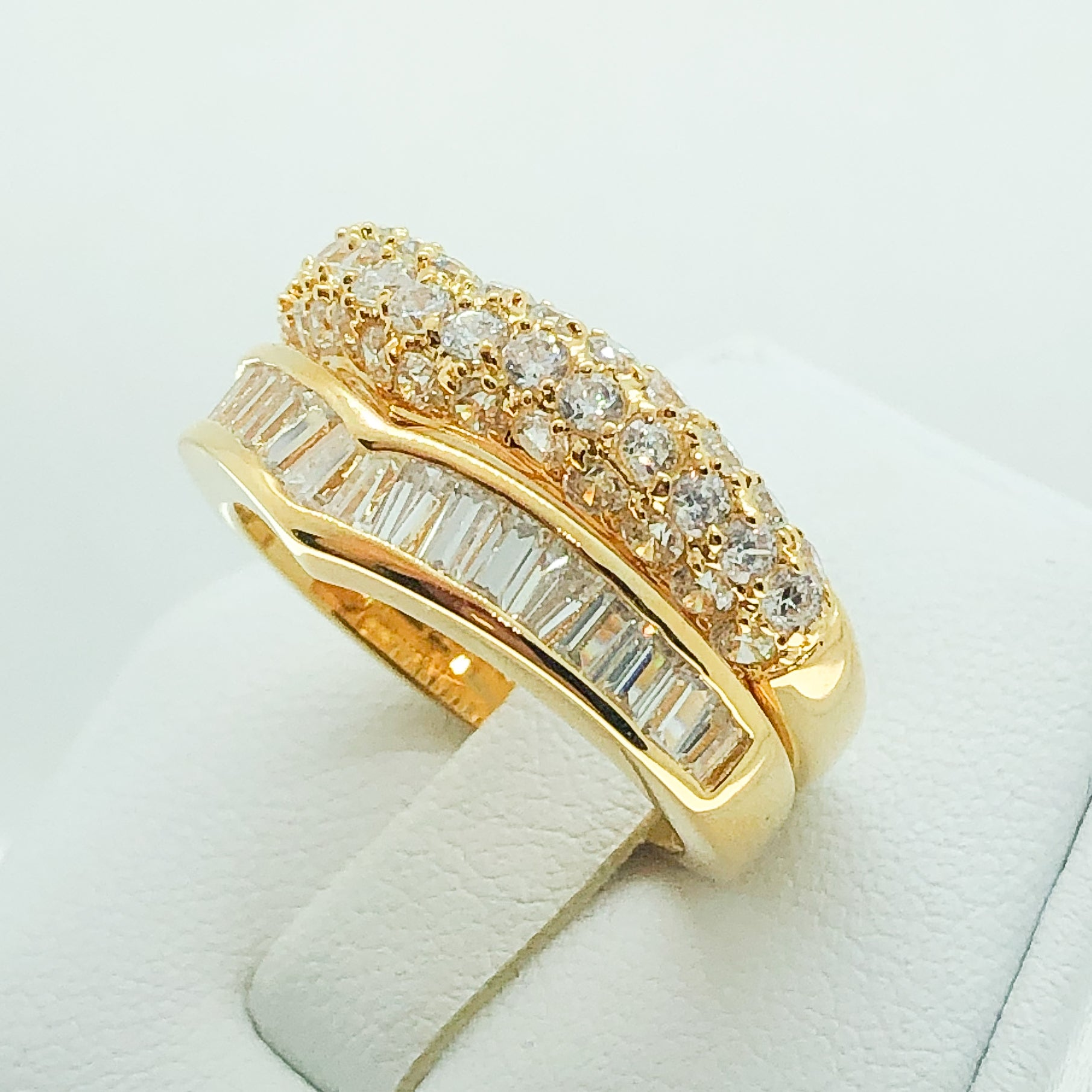 ID:R2890 Women Vintage Jewelry 18K Yellow Gold GF Burnished Engagement Wedding Diamonique Bridal Band Ring 2pcs/Set