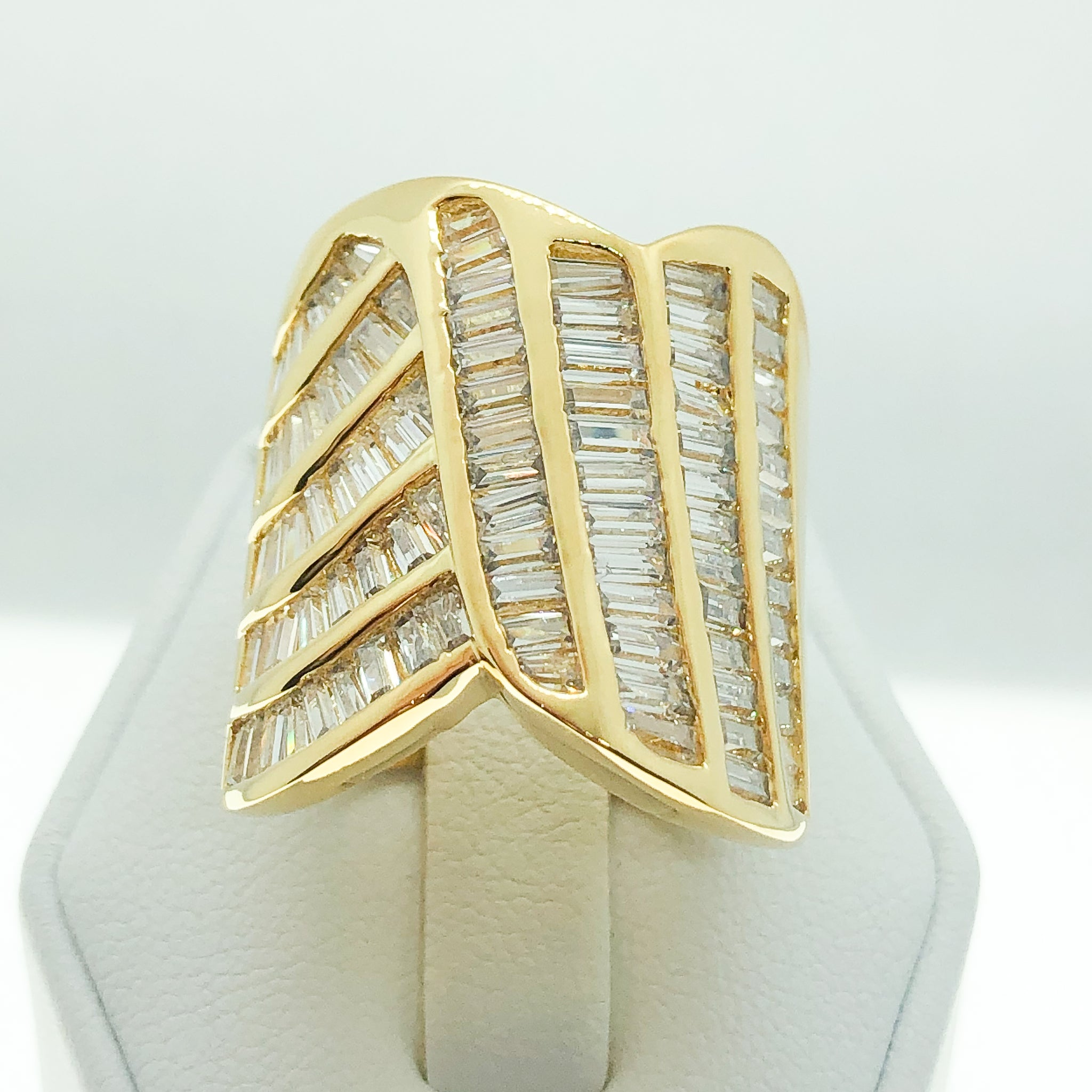 ID:R2413 Women Vintage Jewelry 18K Yellow Gold GF Extraordinary Promise Anniversary Eternity Baguette Diamonique Ring