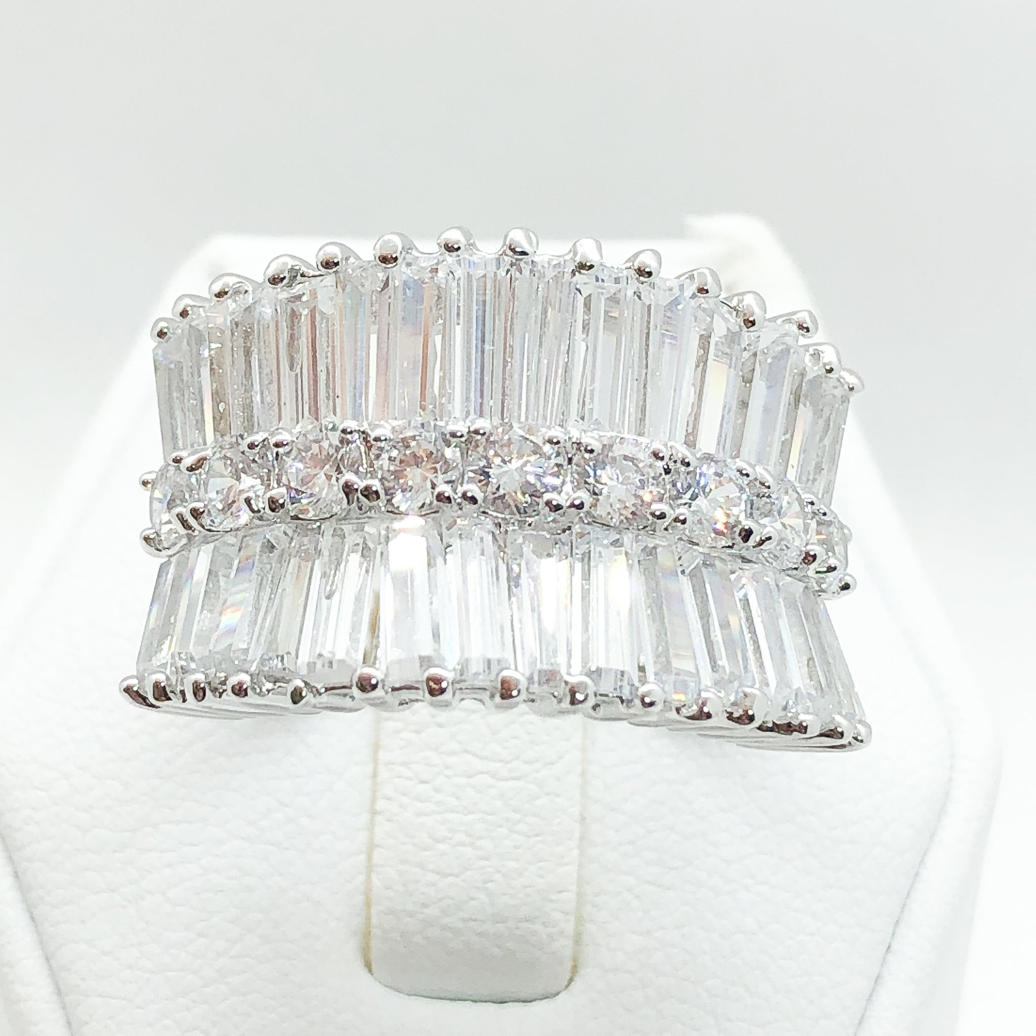 ID:R2440 Women Fashion Jewelry 18K White Gold GF Incredible Promise Anniversary Diamonique Eternity Ring