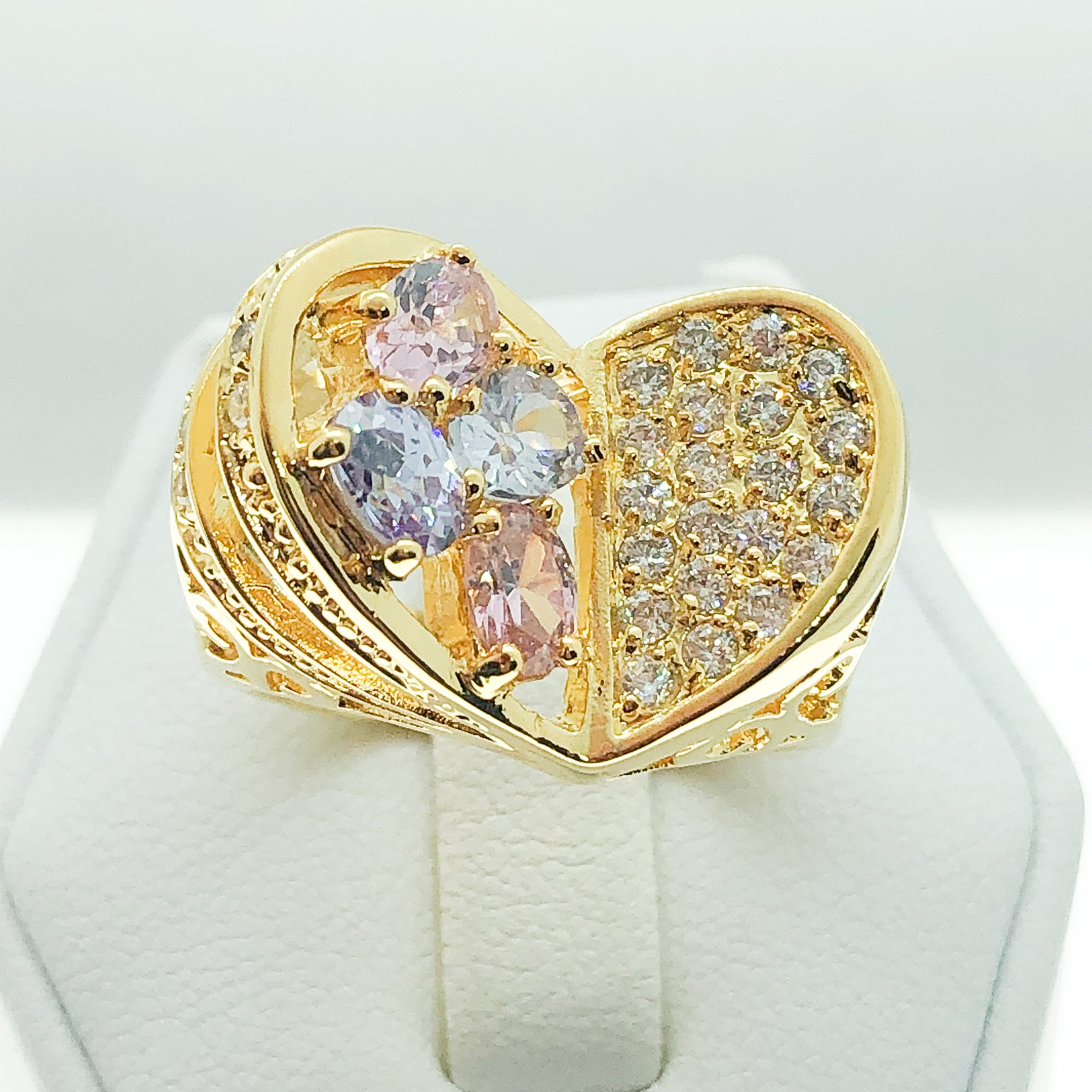 ID:R0939 Women Fashion-Forward Jewelry 18K Yellow Gold GF Beautiful Unique Heart Style Color Crystal Cocktail Ring