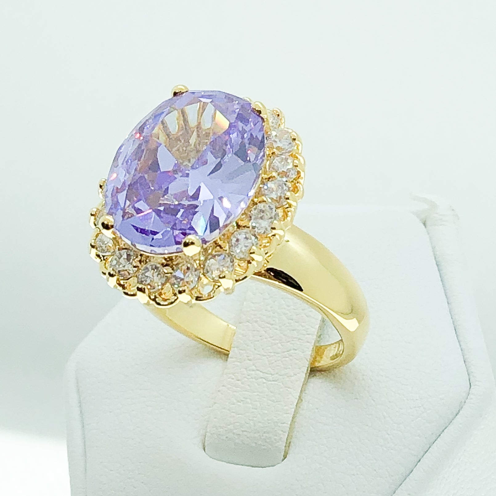 ID:R0350 Women Fashion Jewelry 18K Yellow Gold GF Fabulous Amethyst Crystal Ring With Diamonique Accent Anniversary Gift