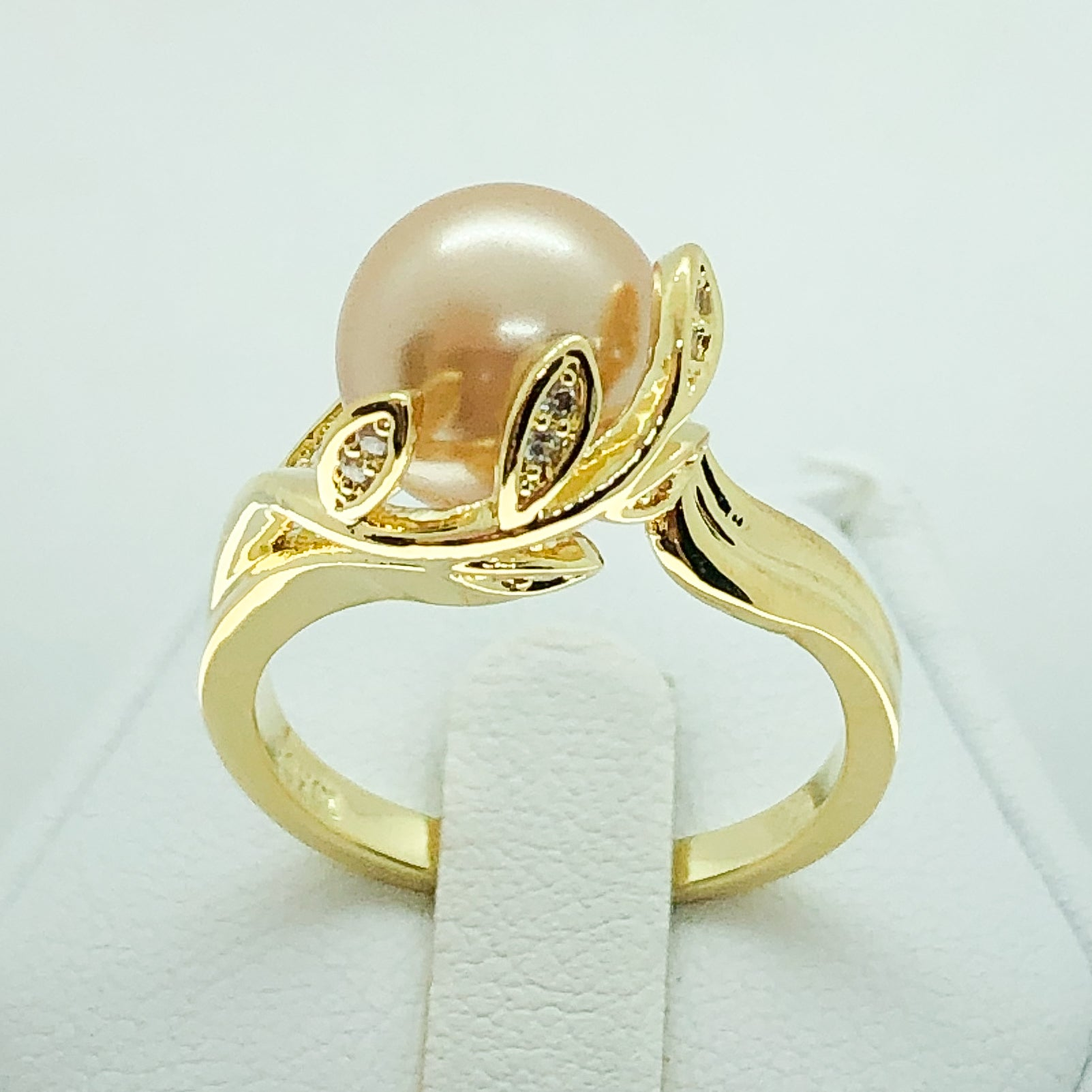 ID:R7579 Women Jewelry 18K Yellow Gold GF Champagne Color Pearl Ring With Clear Round Stones Accent