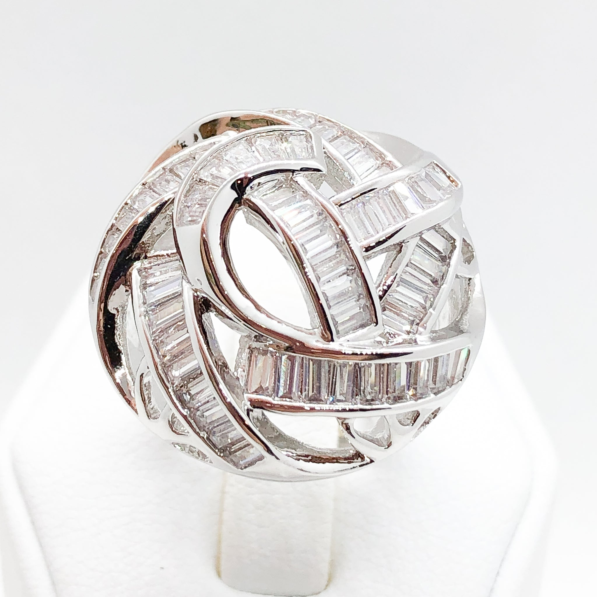 ID:R7511 Women Jewelry 18K White Gold GF Shimmering Eye-Catching Clear Baguette Stones Unique Dome Eternity Ring